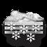 Coperto con neve forte a carattere di bufera e nebbia