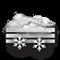 Coperto con rovesci di neve e nebbia
