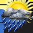 Nubi irregolari con pioggia molto forte